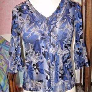 Blue Black Gray Floral Bell Sleeve V Neck Blouse